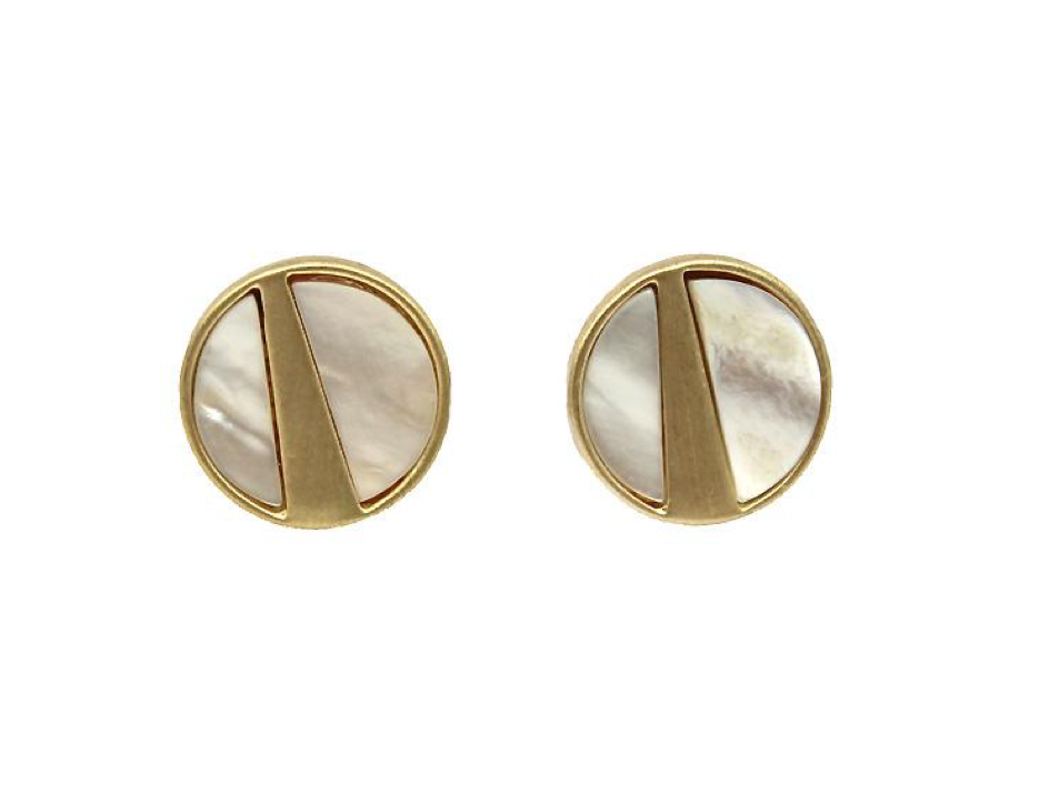 Mother of pearl brushed gold studs