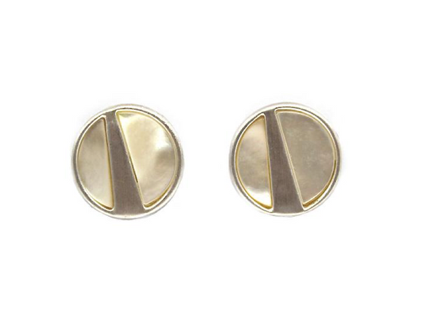 Mother of pearl brushed silver studs