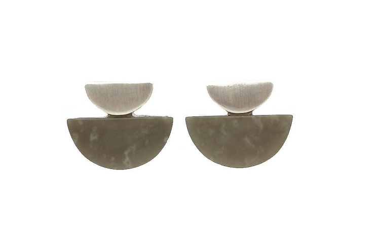 Art deco brushed silver grey studs