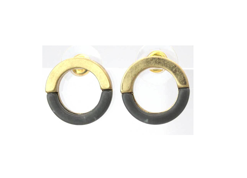 Open circle grey gold studs