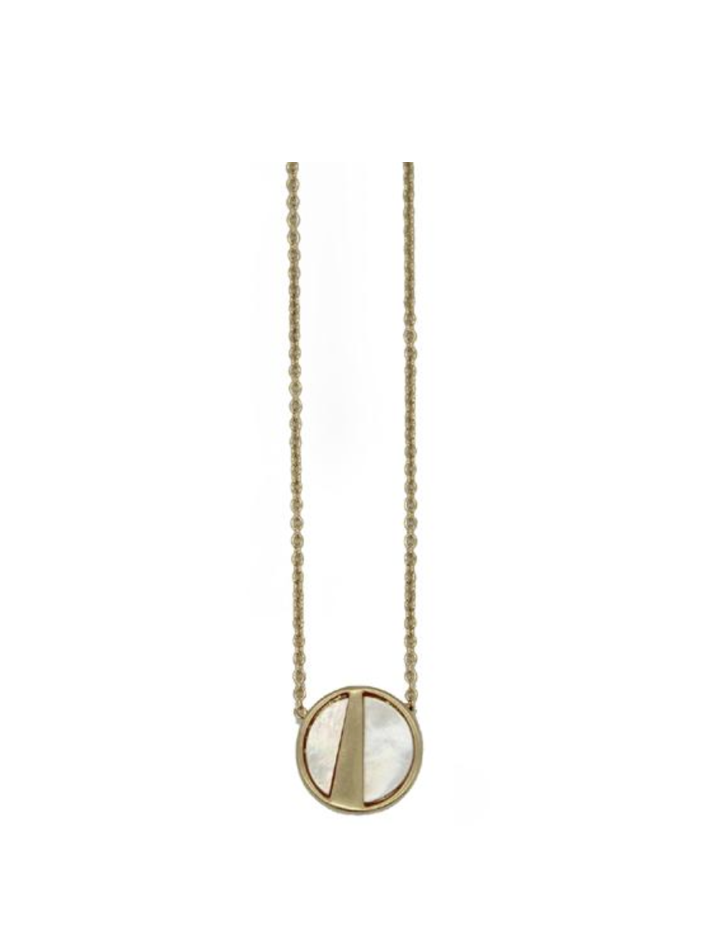 Lark Round Pendant - Mother of Pearl (Gold)