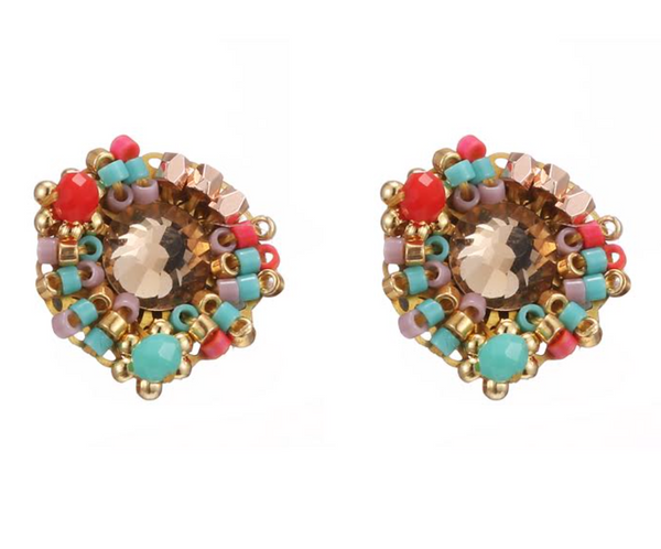 Beaded Statement Earrings - Multi