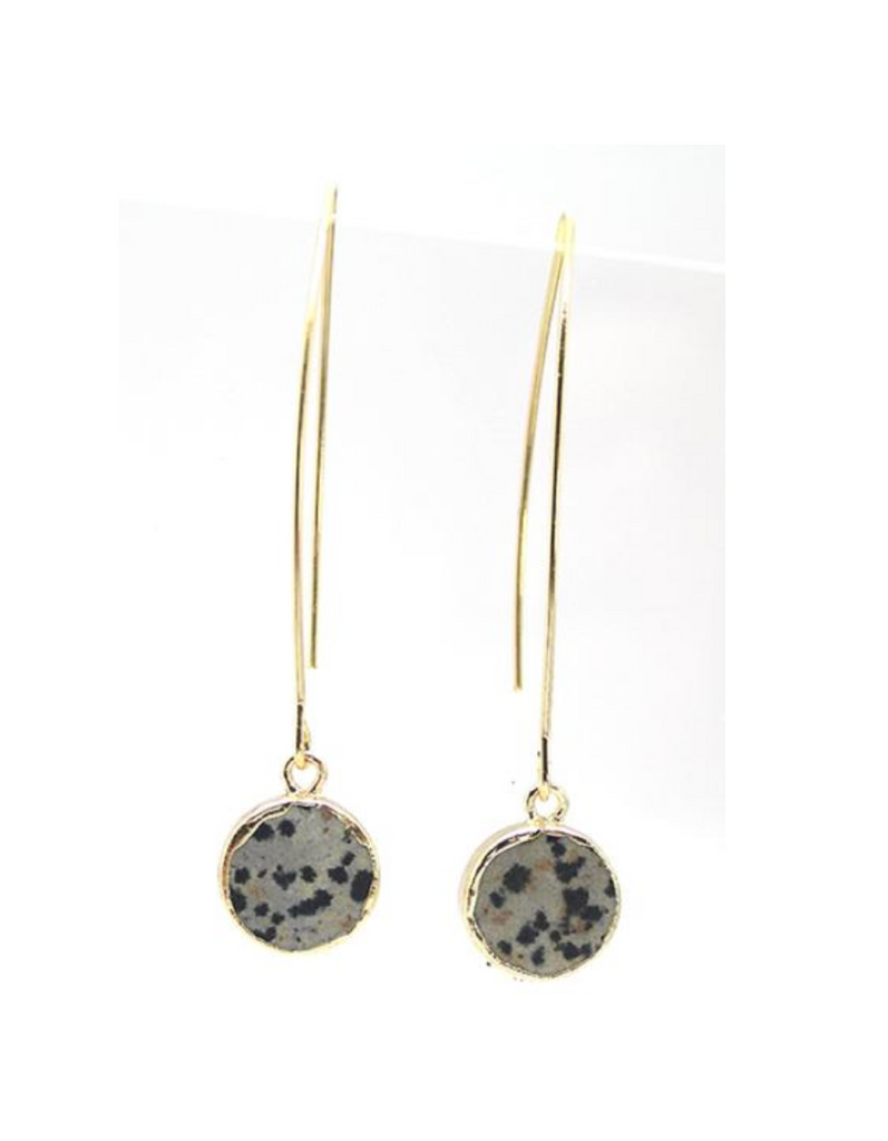 Lark Circle Earrings - Dalmatian Jasper (Gold)