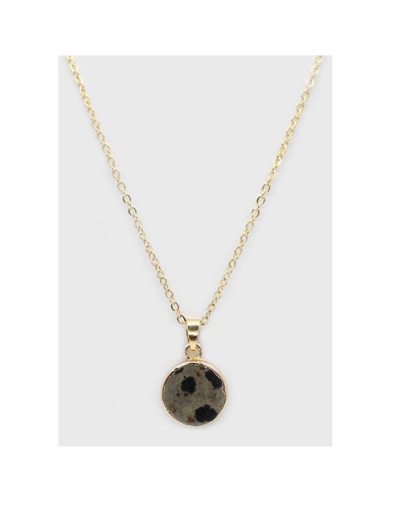 Lark Circle Pendant Necklace - Dalmatian Jasper (Gold)