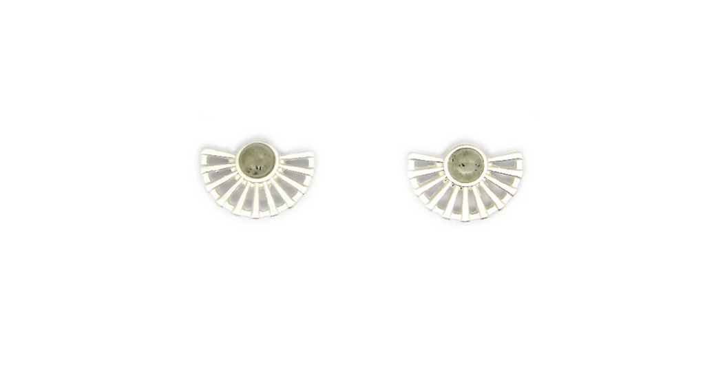 Lark Fan Studs with Labradorite - Silver