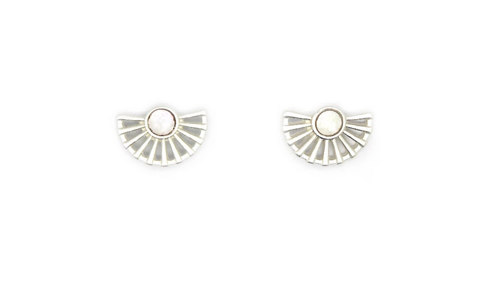 Lark Fan Studs with Mother of Pearl - Silver