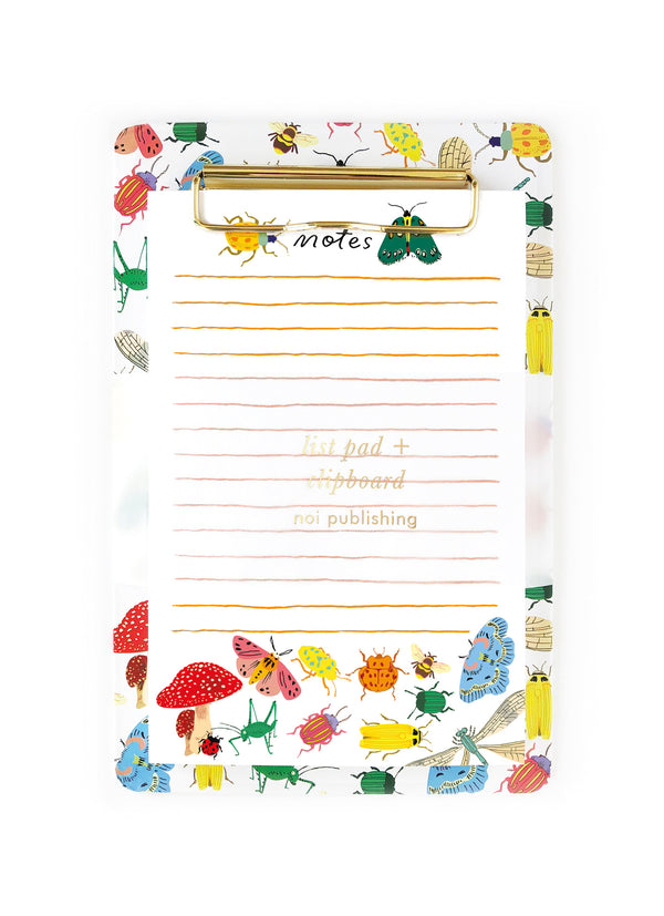 Bug collection magnetic clipboard and list pad