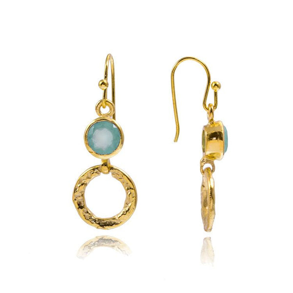 Azuni 'Larissa' Hoop Earrings - Aqua (Gold)