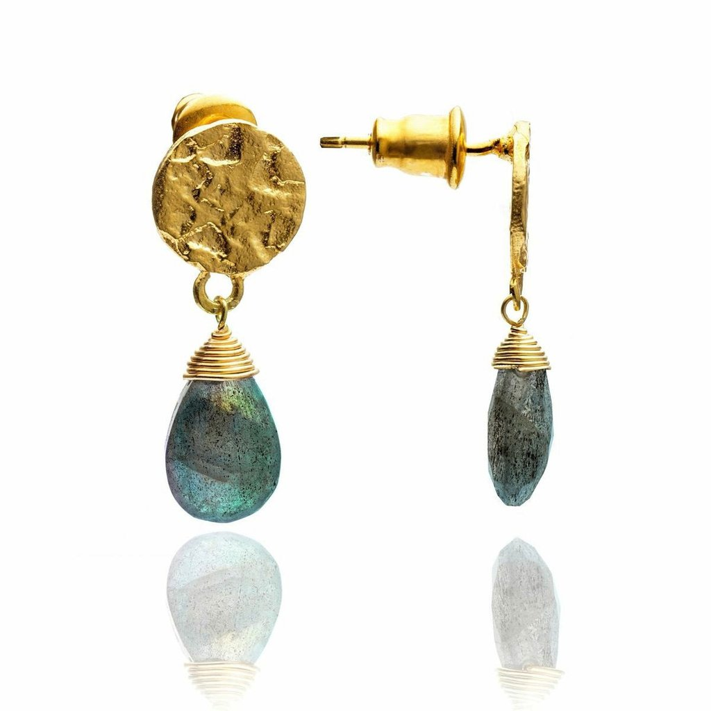 Gold Gemstone Drop Earring- Labradorite
