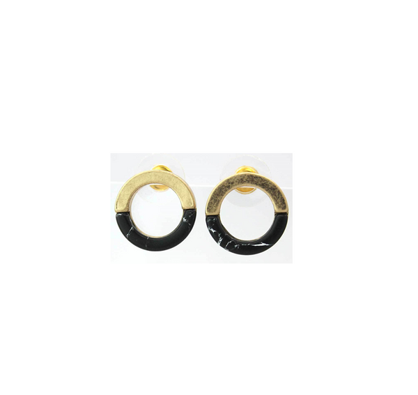 black gold marble earrings