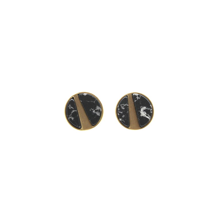 Brushed gold black marble studs