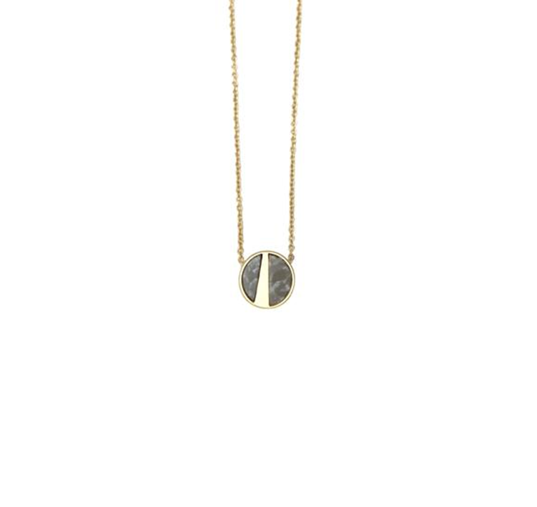 Lark Pendant Necklace with Grey Marble - Gold