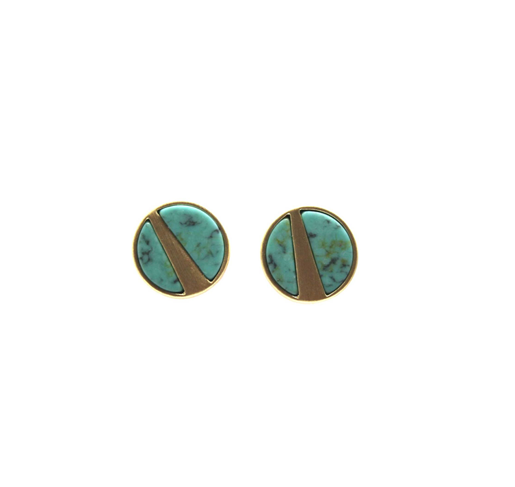 Brushed gold turquoise marble studs