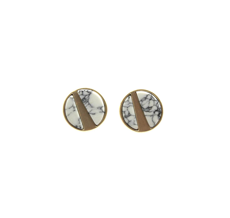 Brushed gold white marble studs