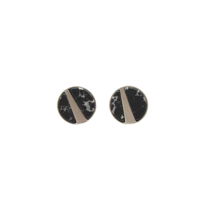 Brushed silver black marble studs