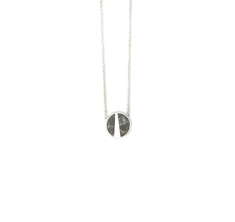 Brushed silver grey marble short necklace