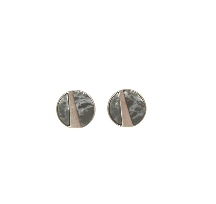 Brushed silver grey marble studs
