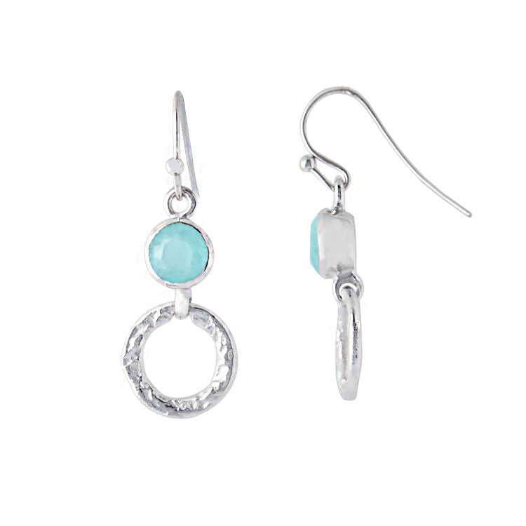 Silver 'Larissa' Hoop Earrings- Aqua