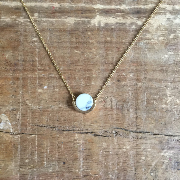 Sixton London White Marble Necklace - Gold