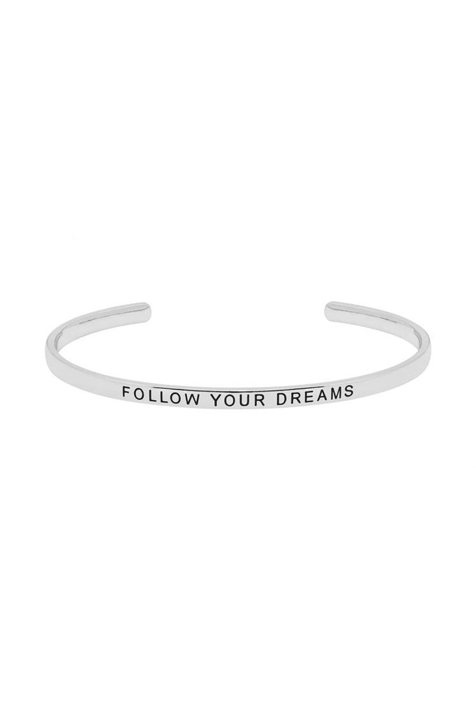 Estella Bartlett Bangle - 'Follow your Dreams' (Silver)