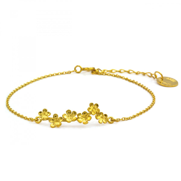 Alex Monroe Forget Me Not Bracelet - Gold