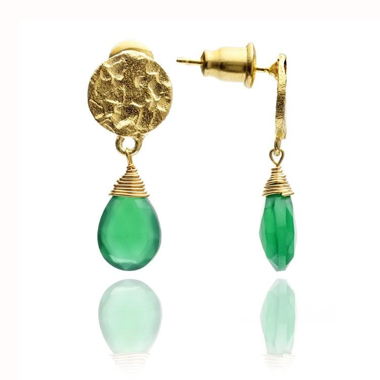 Gold Gemstone Drop Earrings- Green Onyx