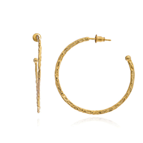 Azuni Hammered Hoop Earring - Large (Gold)