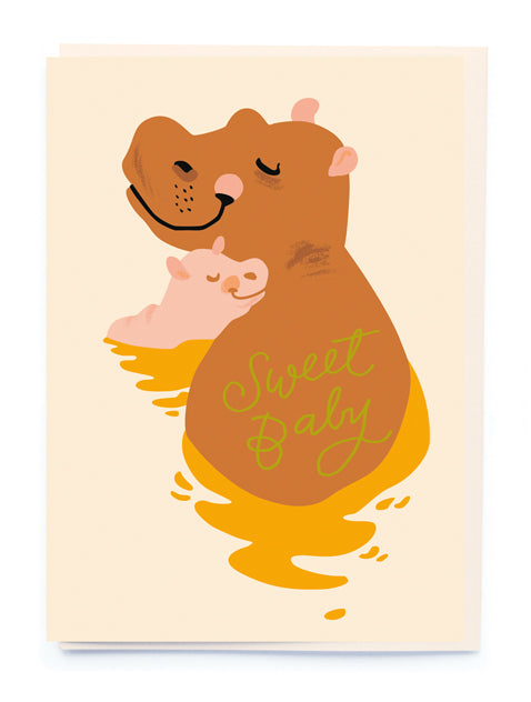 Hippo Gender neutral baby Card