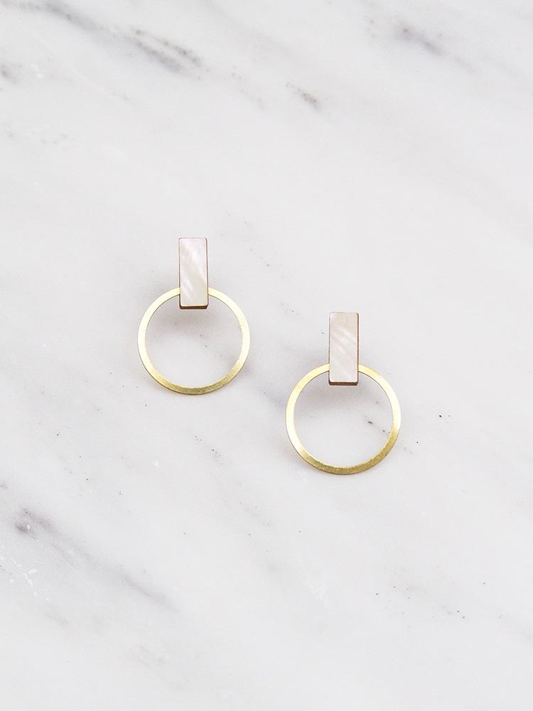 Elara Studs- Mother of Pearl