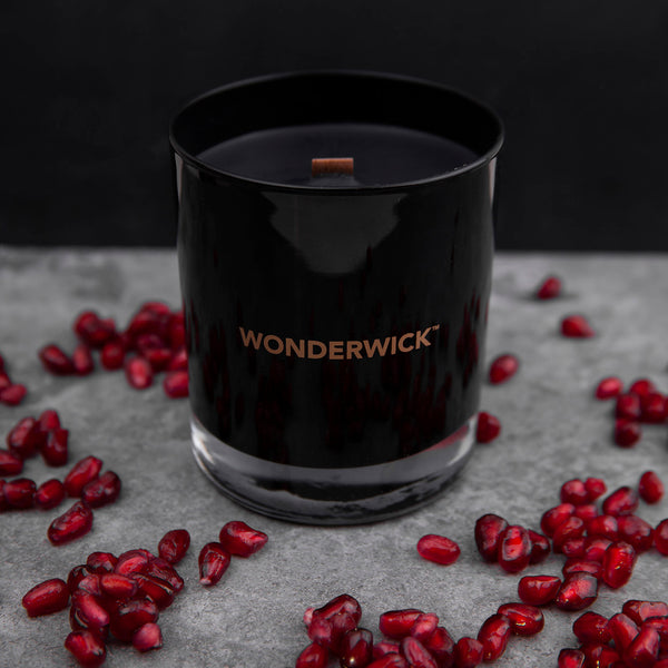 Black Pomegranate Glass Candle