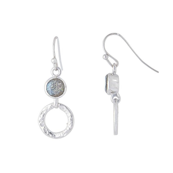 Silver 'Larissa' Hoop Earrings- Labradorite