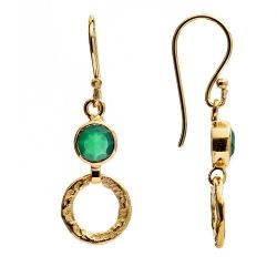Gold 'Larissa' Hoop Earrings- Green Onyx