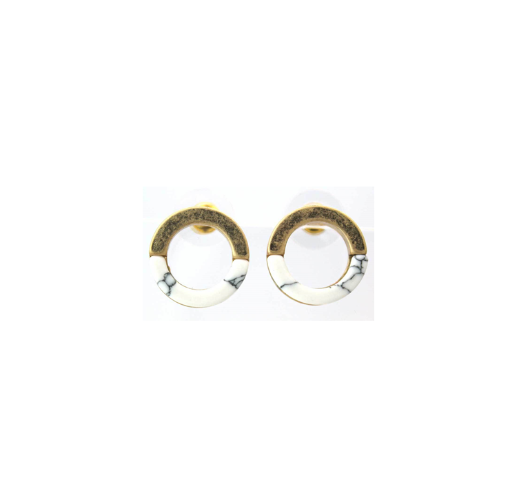 White gold marble earrings