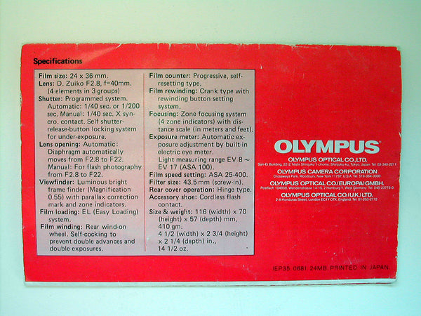 Olympus Trip 35 original instructions