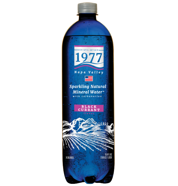 1977 Sparkling Natural Mineral Water Black Currant Flavor 1L PET bottle