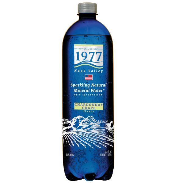 1977 Sparkling Natural Mineral Water Chardonnay Grape Flavor 1L PET bottle