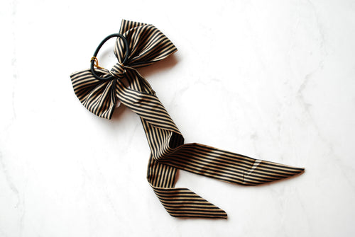 (Headbands Of Hope) Black & Gold Striped Hair Tie