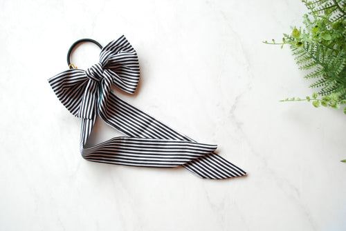 (Headbands Of Hope) Black & White Striped Bow Hair Tie