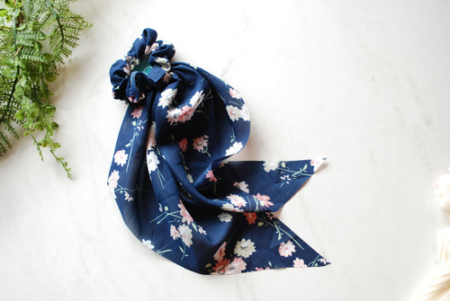 (Headbands Of Hope) Navy Floral Long Tail Scrunchie