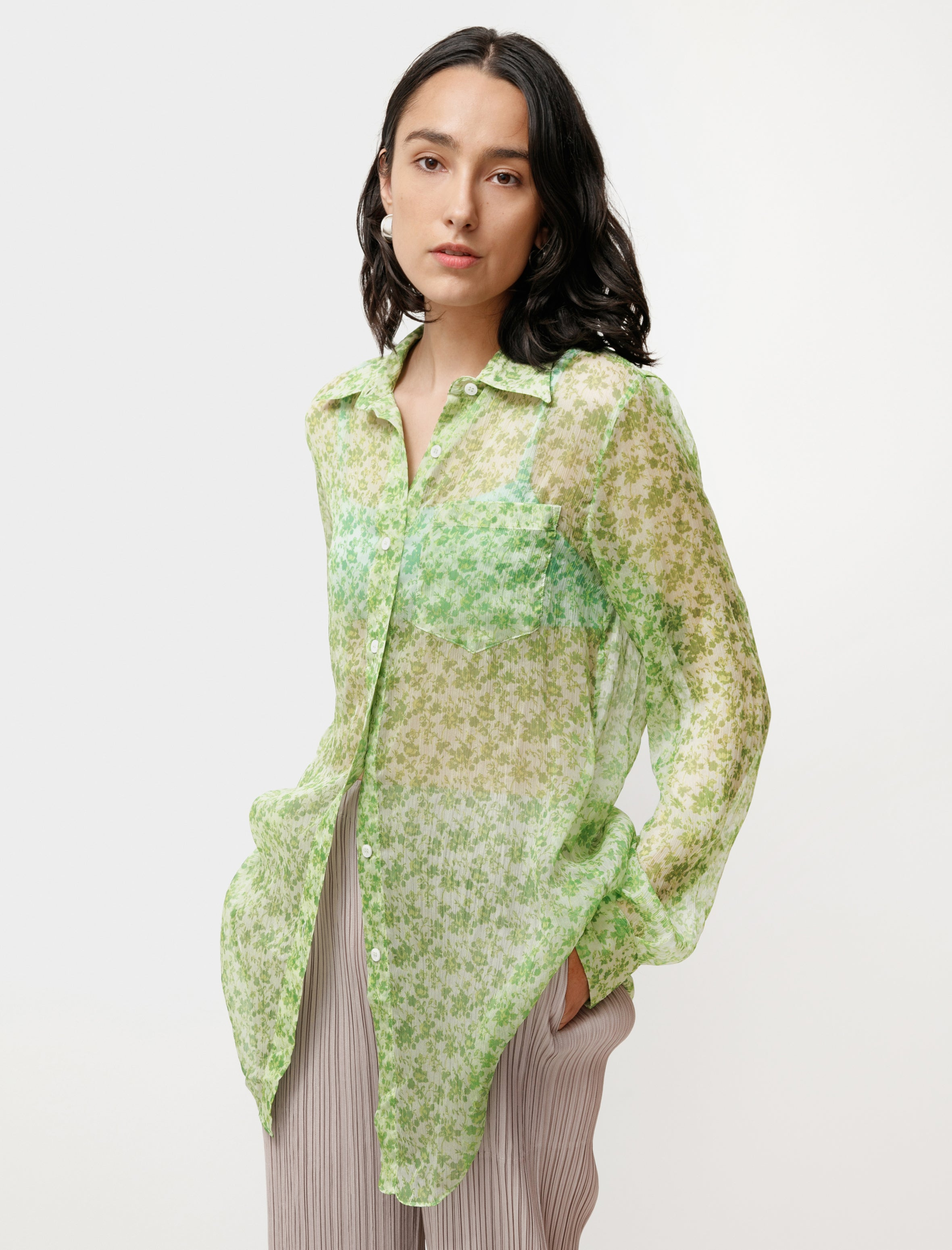 Acne Studios Sheer Chiffon Shirt Fern Green