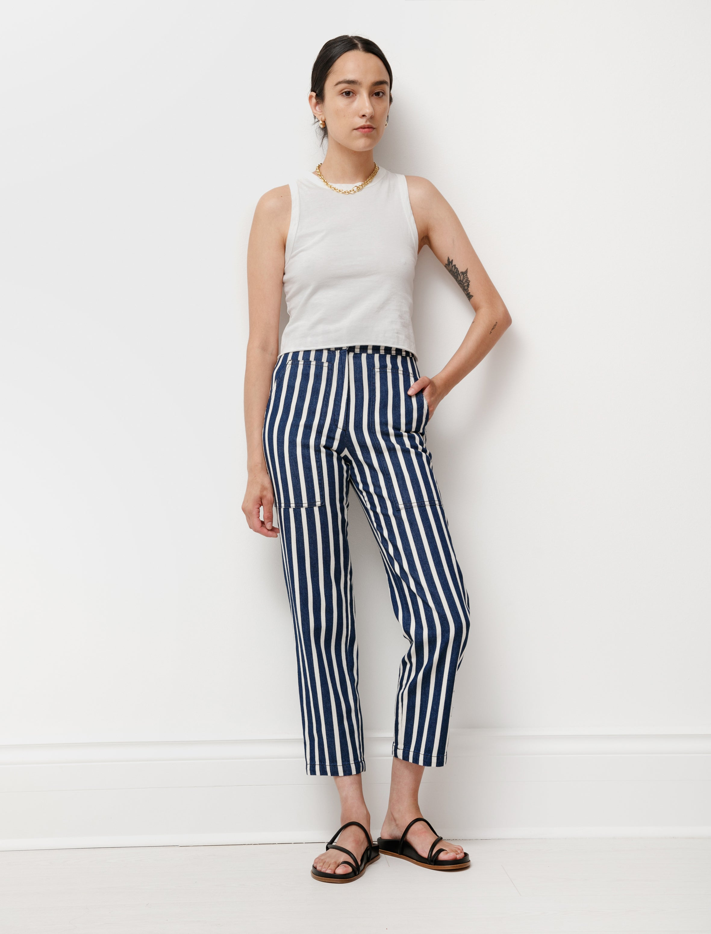 Hache Patch Pocket Striped Jeans