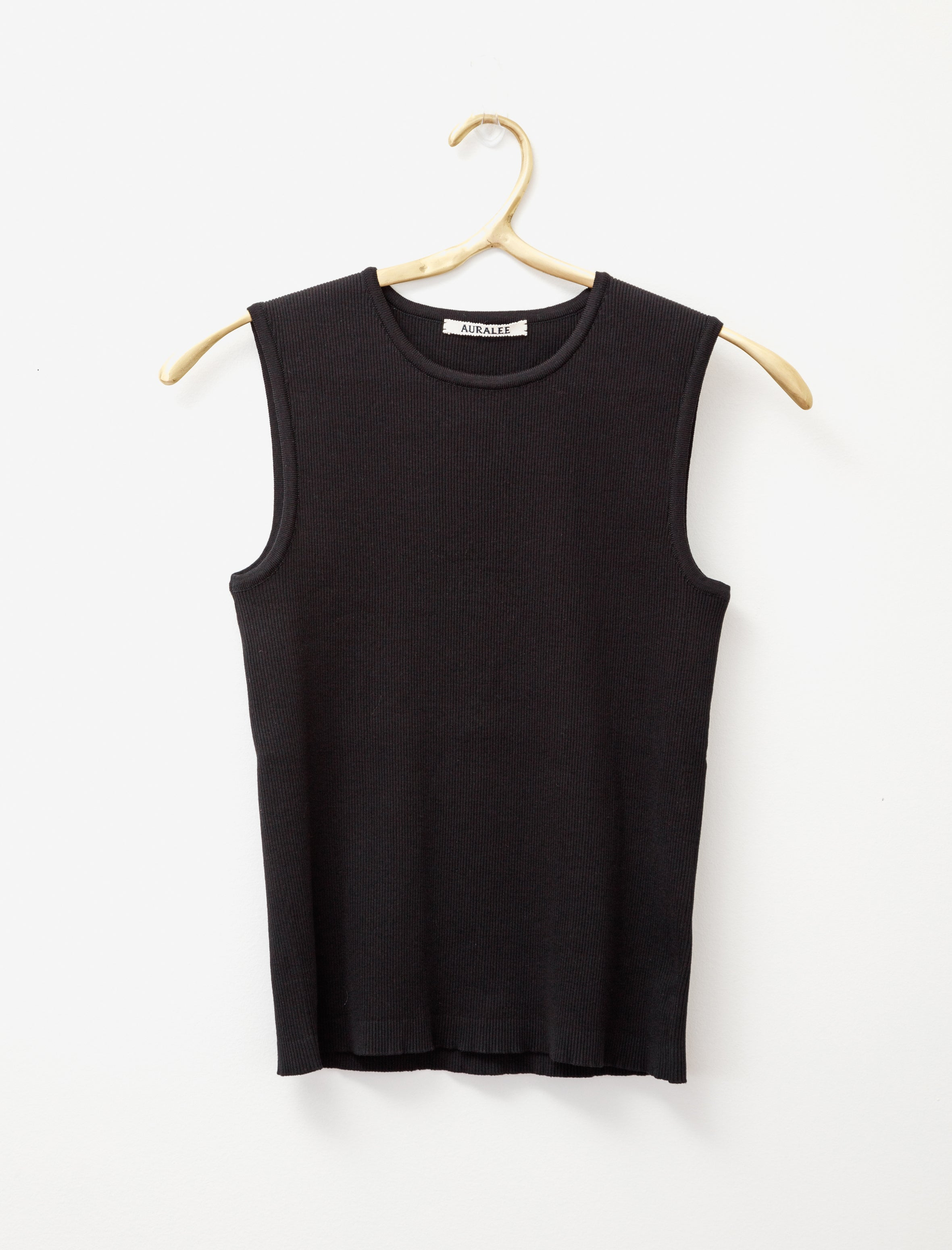 Auralee Sleeveless Rib Knit Black