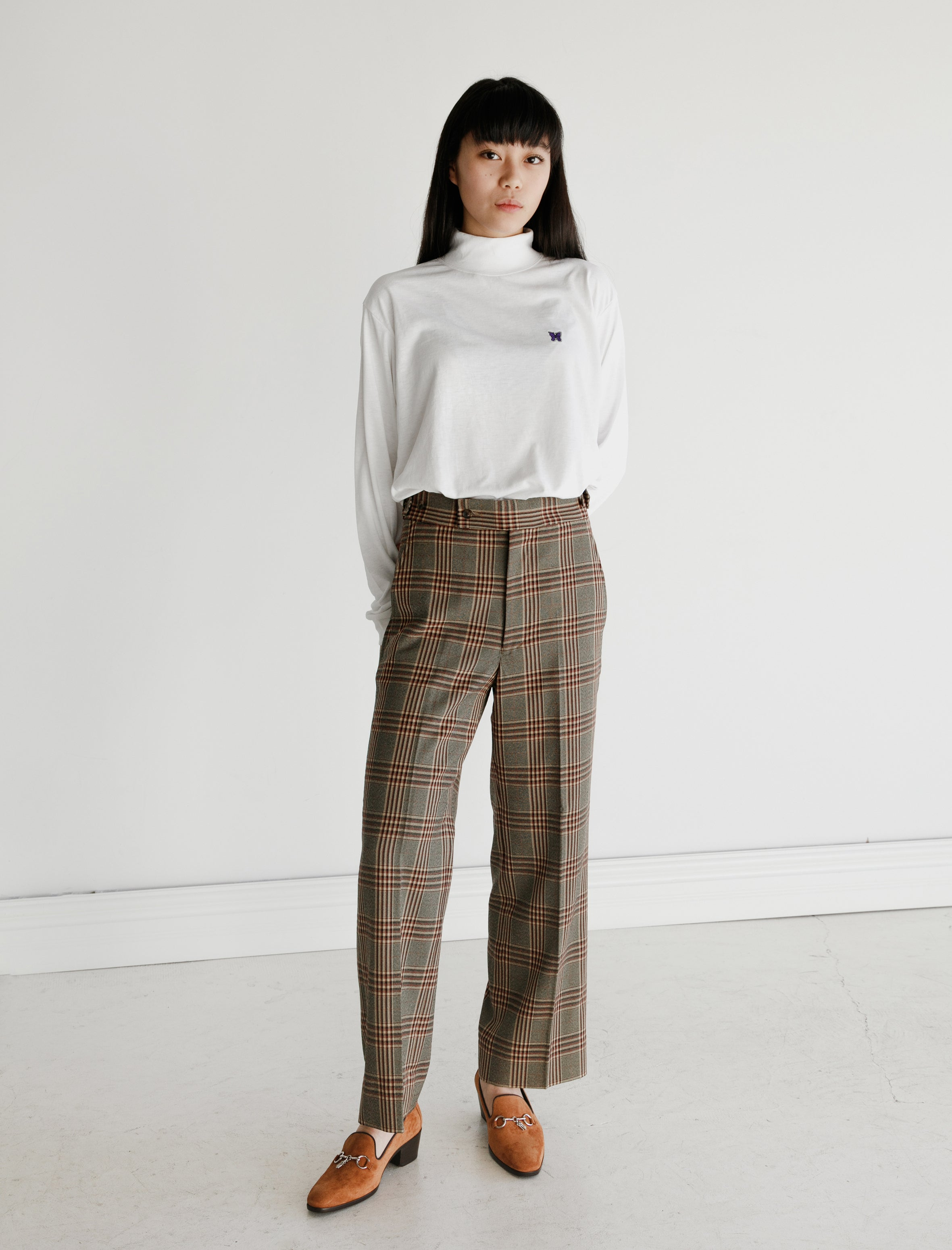 Needles Side Tab Trouser Graph Plaid Twill Yellow
