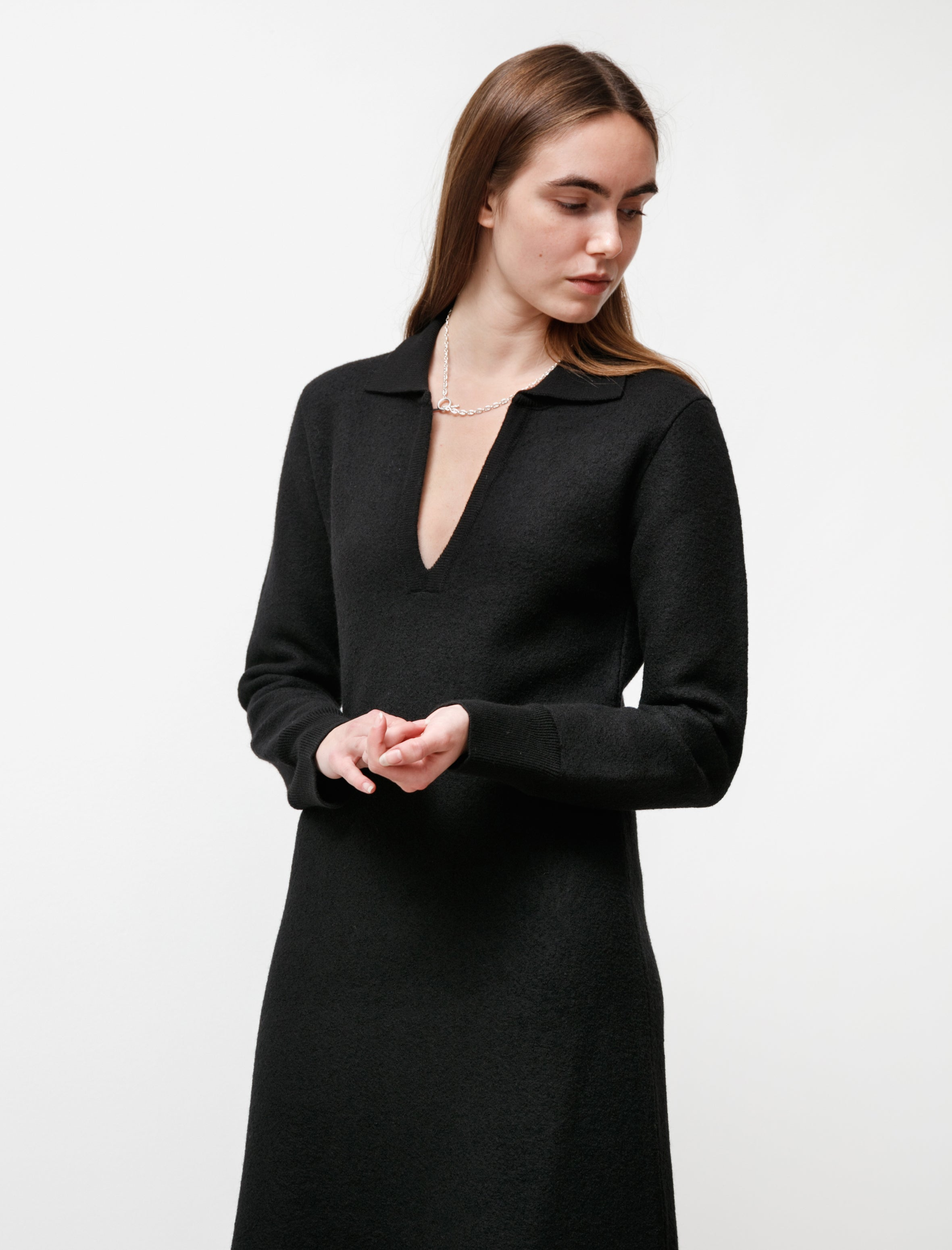 Cristaseya Felted Wool Polo Dress Black