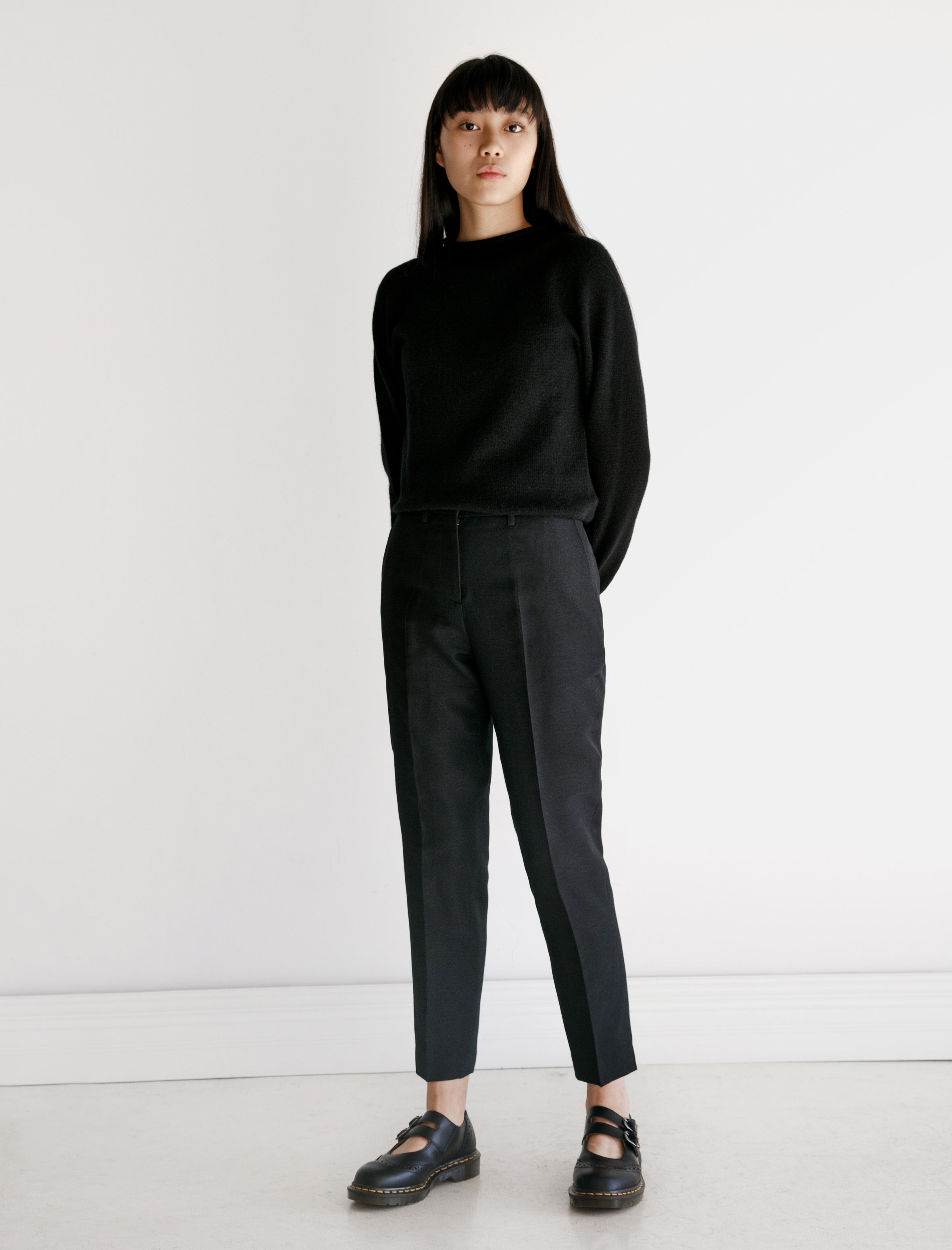 Margaret Howell Midi Waist Crop Wool Linen Hopsack Ink