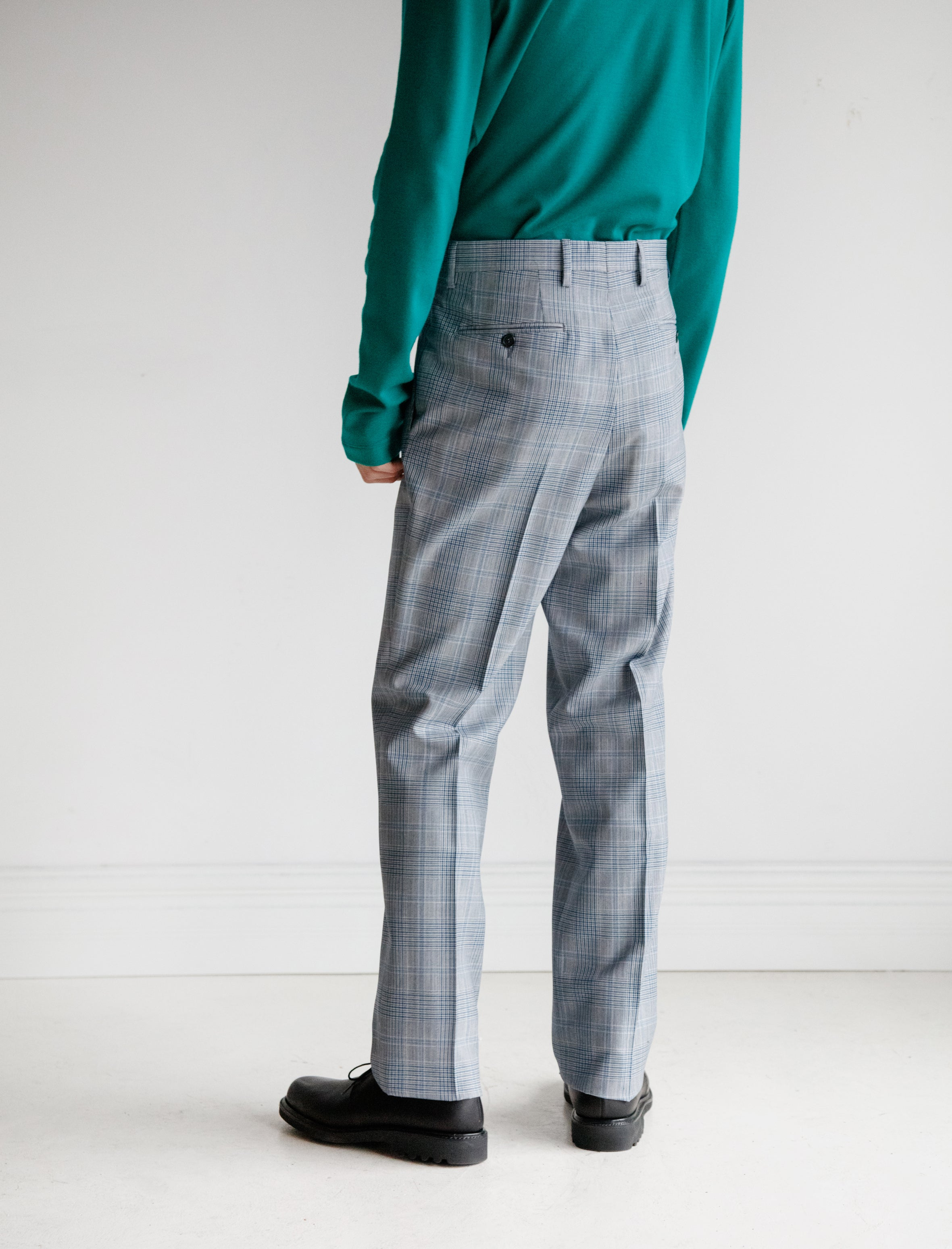 Glen Plaid Plainweave Wool Trouser