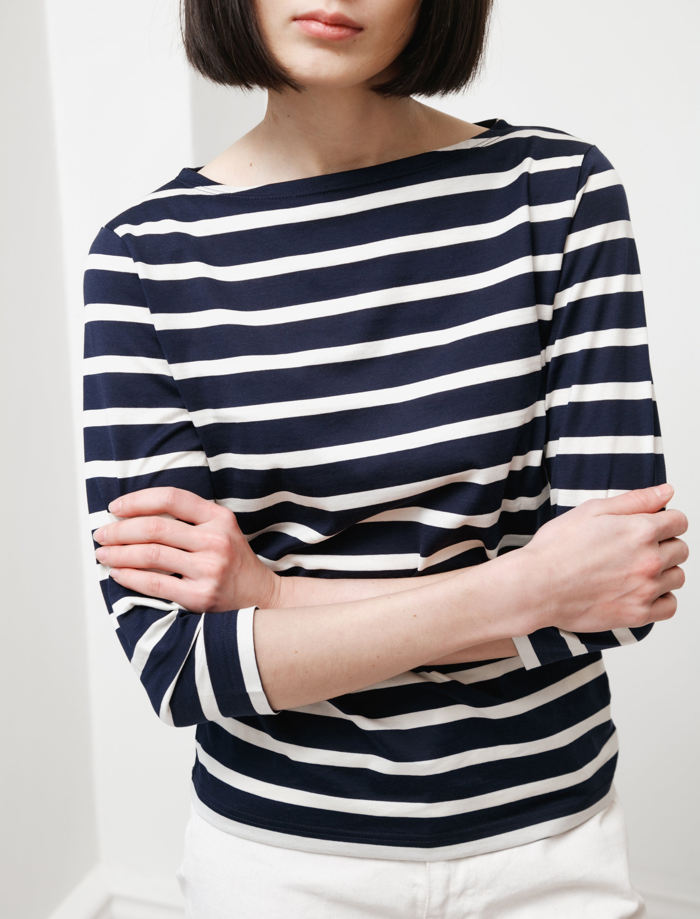 Sunspel 3/4 Sleeve Striped Boatneck T-Shirt Navy/Ecru