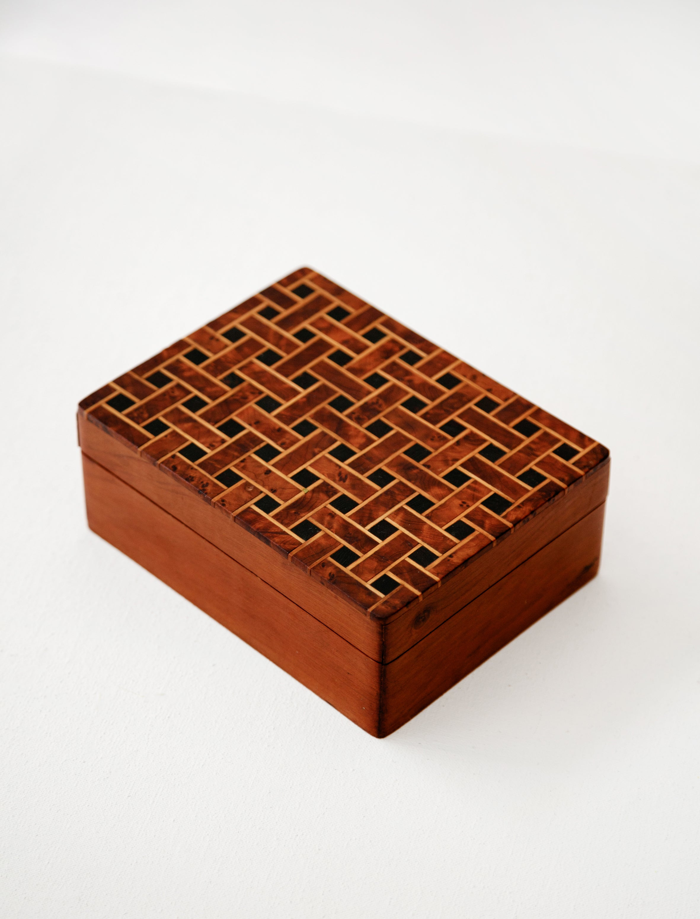 Found by Neighbour Basket Weave Marquetry Box