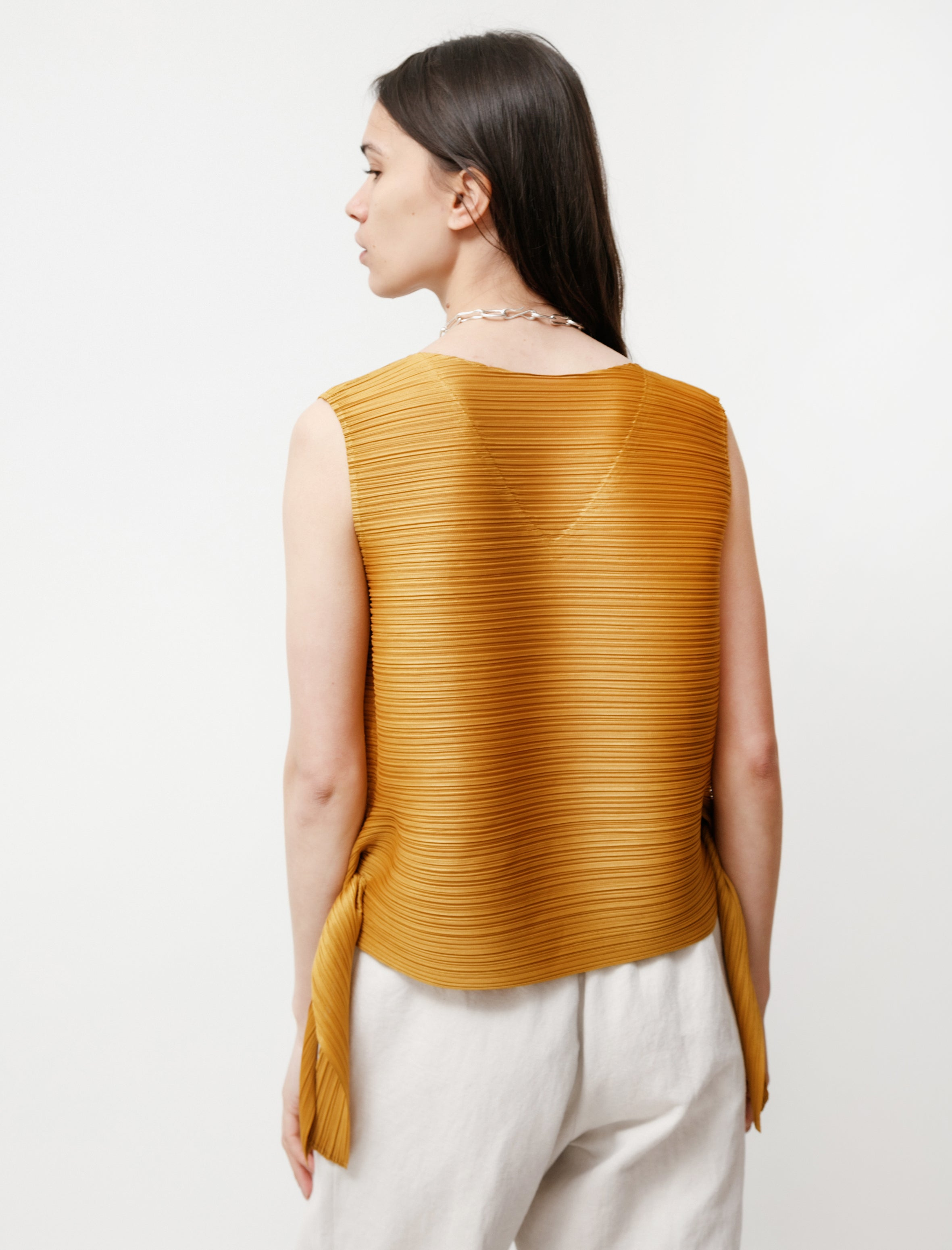 Pleats Please by Issey Miyake Dive Side Tie Tank Gold