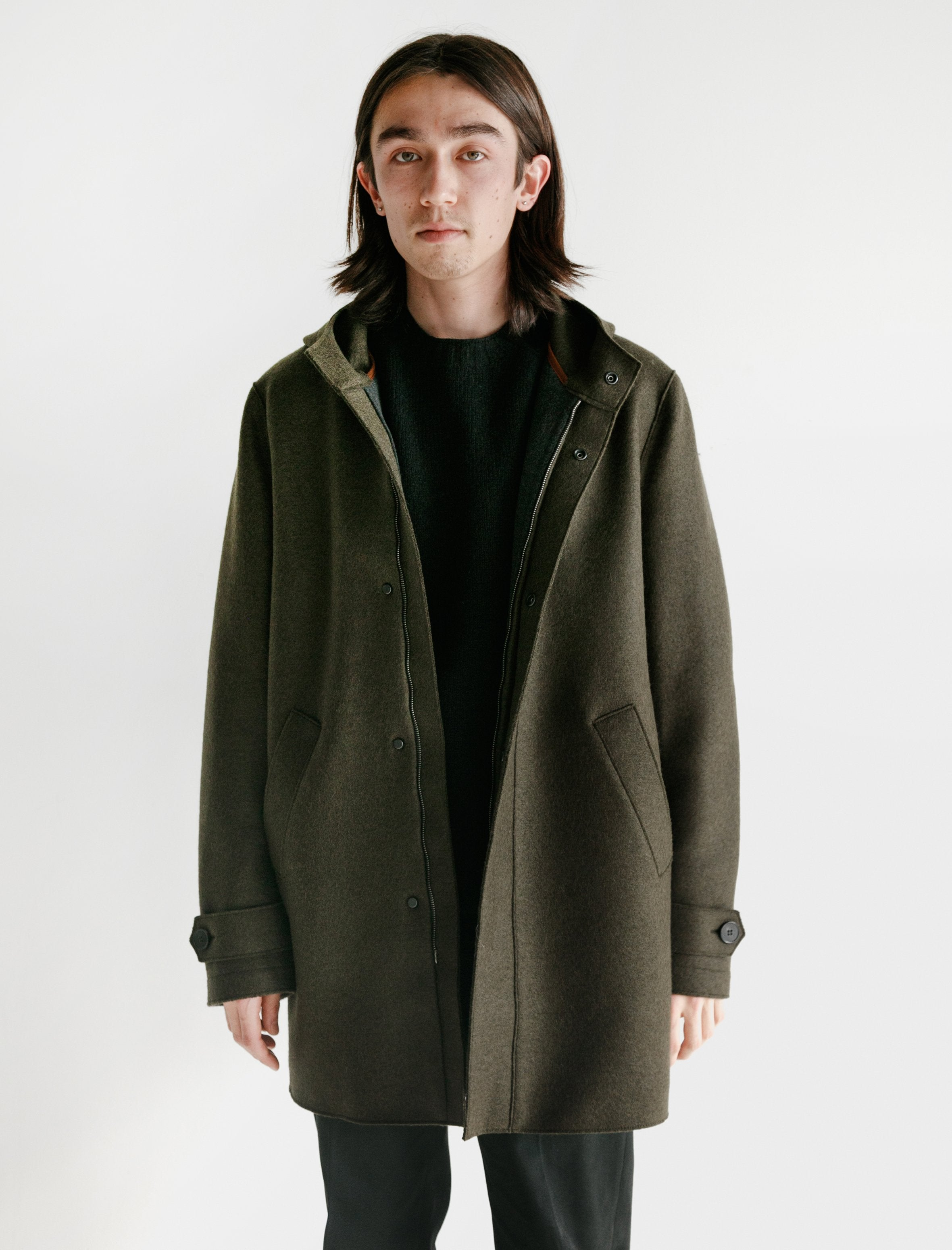 Harris Wharf Long Parka Insulated Polaire Pressed Wool Army